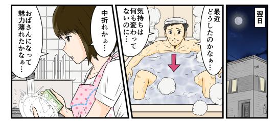 翌日、「最近どうしたのかなぁ…気持ちは何も変わってないのに…」と風呂に入りながら俺は考える。一方その頃、妻の方は「中折れかぁ…おばさんになって魅力うすれたかなぁ…」と洗い物をしながら考える。